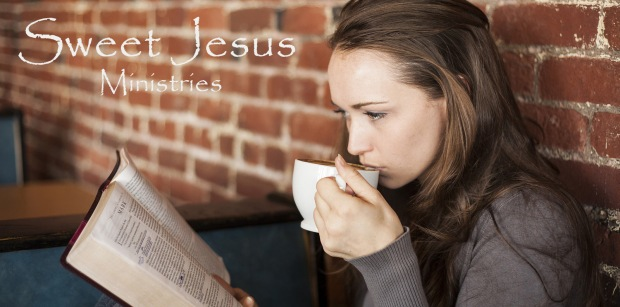 girl with bible and coffee with title